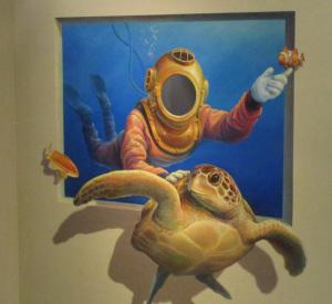 カメと潜水夫