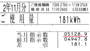 11月の検針票